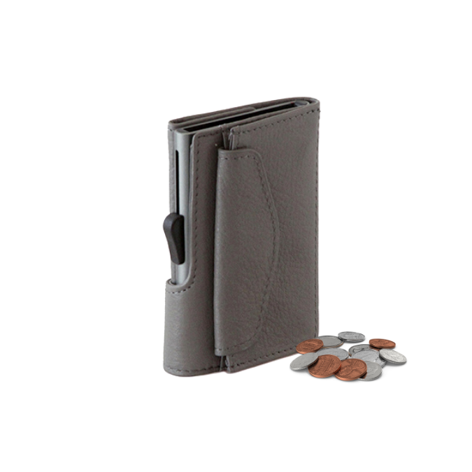 Mini Taupe Wallet + Coin