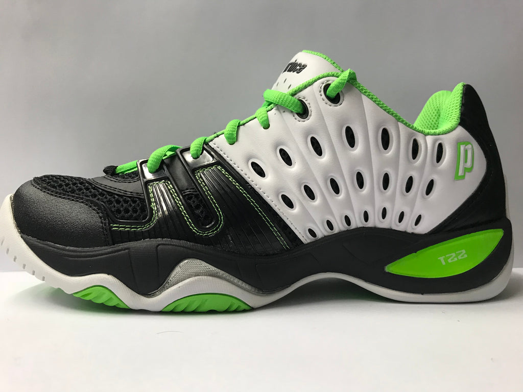 c5529d8057bf Racket Academy — Prince T22 Men s Tennis Shoe Black White Green ...