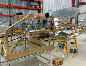 BD-5 wing kit: Wing ribs attached and plumbed