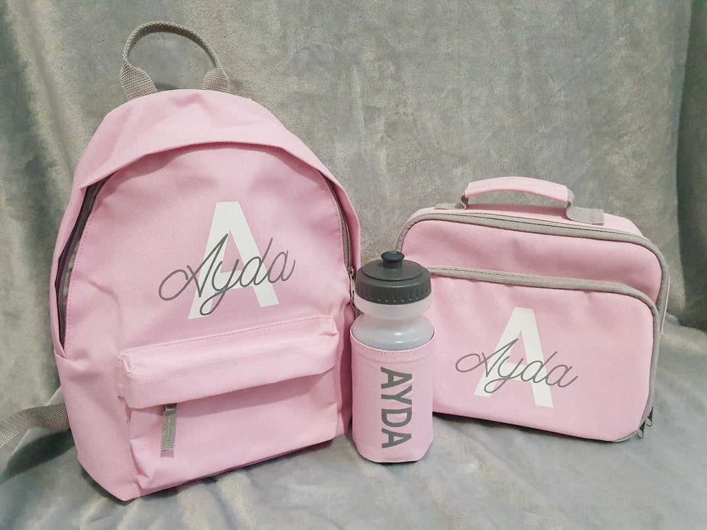 Personalised back to school or nursery bundle. Kit includes backpack, lunch bag and water bottle