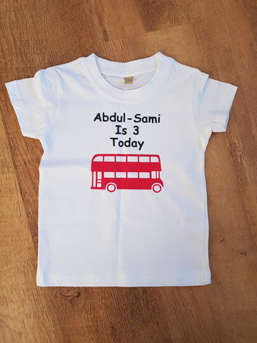Personalised London Bus Birthday Tee Kids T-shirt - Original Life Clothing
