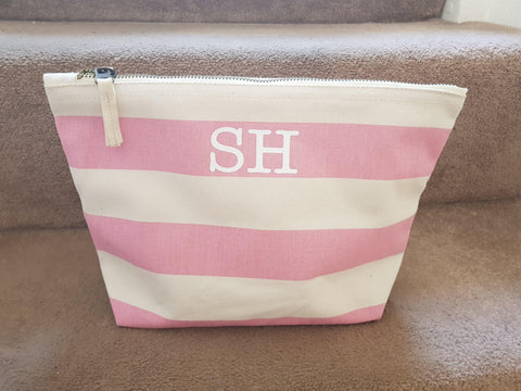 Beach Accessory Bag Striped With Initials