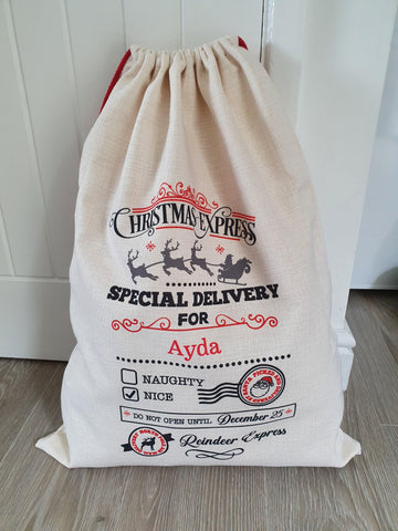 Luxury Personalised Christmas Gift Sack