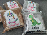 Personalised Magic Sequin Cushion - Unicorn, Dinosaur - Original Life Clothing