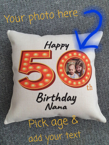 Personalised Birthday Photo Cushion