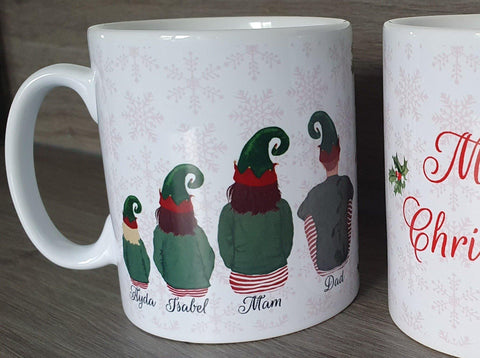 Custom Elf Family Personalised Christmas Mug