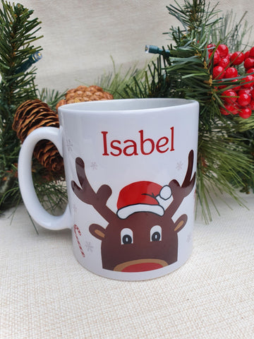 Personalised Christmas Reindeer Mug Hot Chocolate