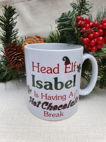 Personalised Christmas Head Elf Mug Hot Chocolate