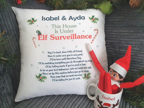Elf On The Shelf Personalised Christmas Cushion