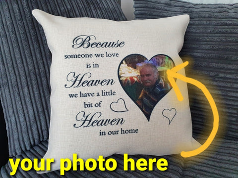 Personalised Heaven Memorial / Bereavement Gift | Photo Cushion Cover