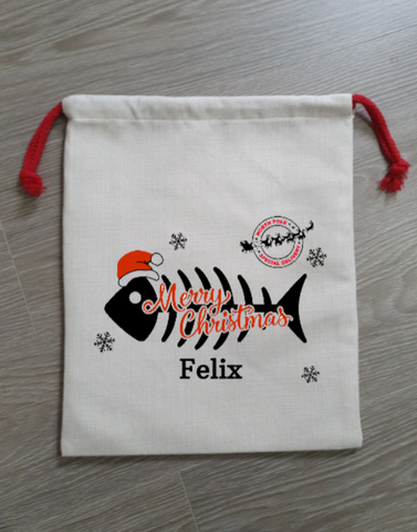 Luxury Personalised Pet Cat Christmas Gift Sack