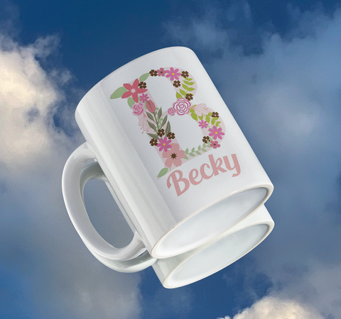 Personalised Full Floral Name And Initial Mug