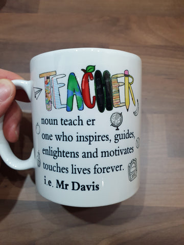 Personalised Teacher Gift - Teacher Mug Present Saying School