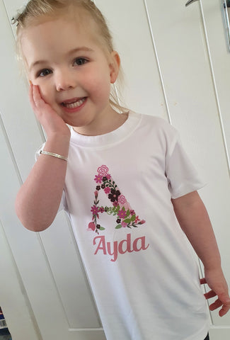 Personalised Floral Initial Kids T-Shirt