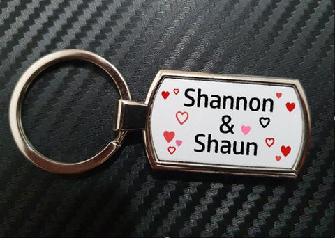 Personalised Keyring Love Hearts Valentines Gift For Him Gift For Her - Original Life Clothing