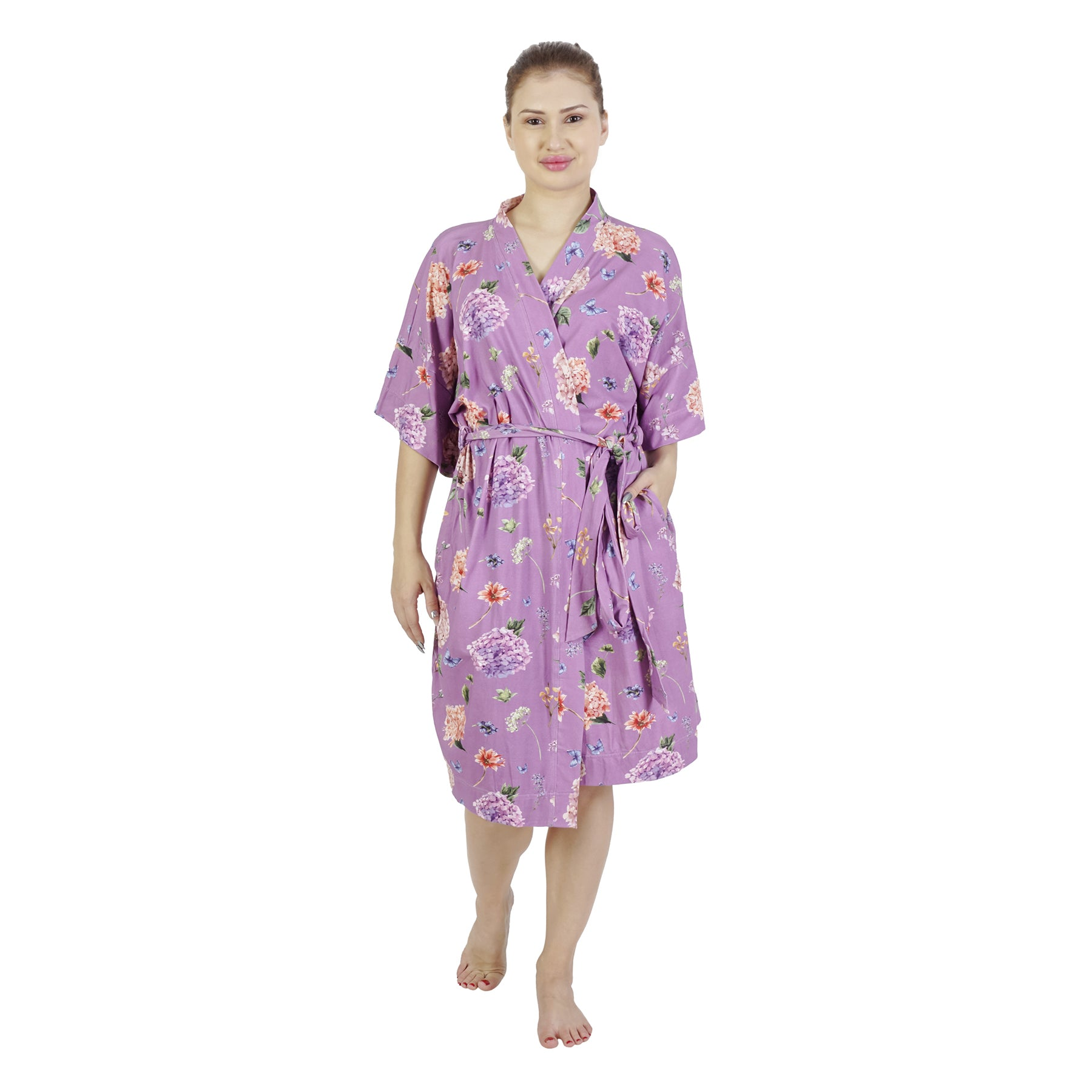 Purple Peony Comfy Mommy Organic Stretch Cotton Maternity Robe