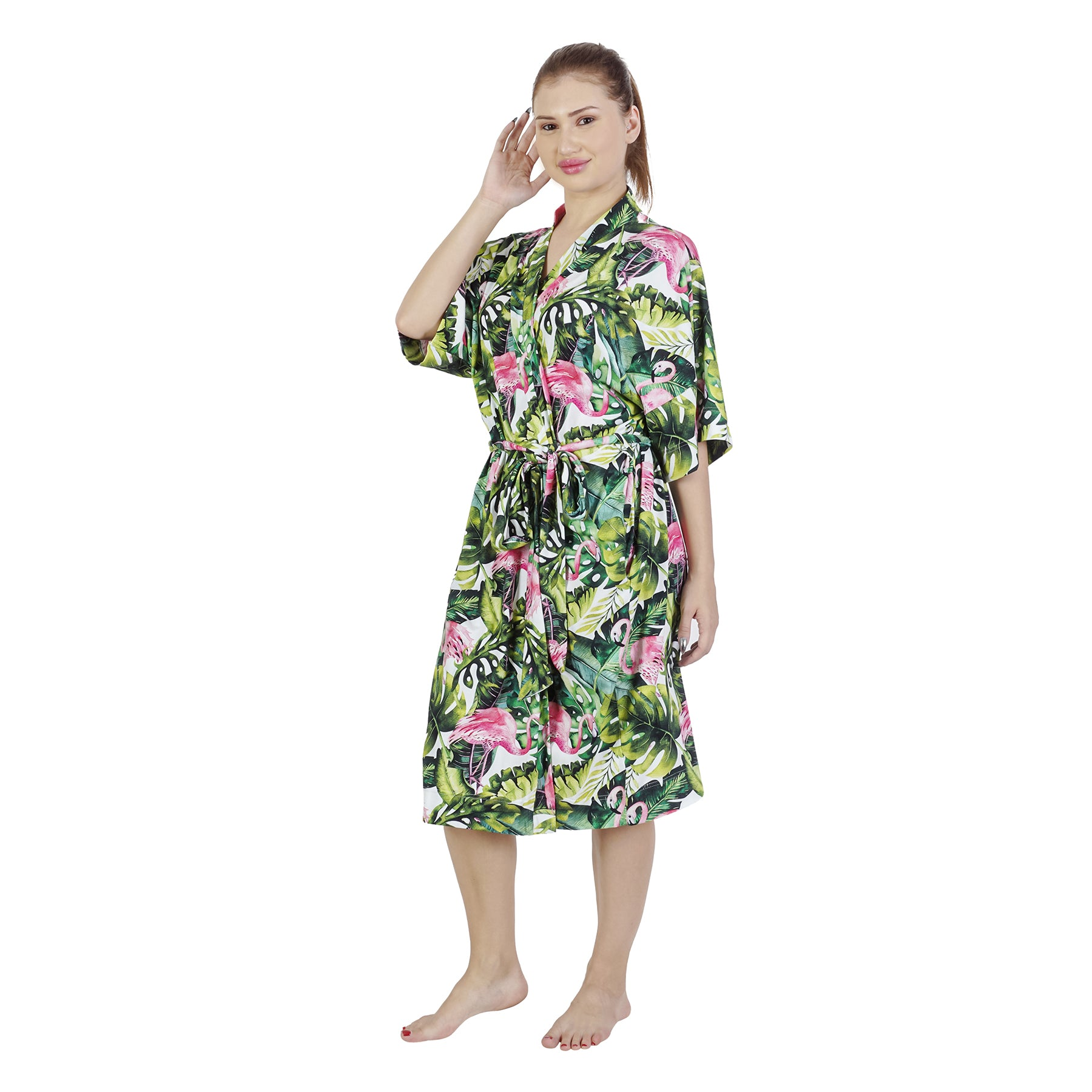 Flamingo Palm Comfy Mommy Organic Stretch Cotton Maternity Robe