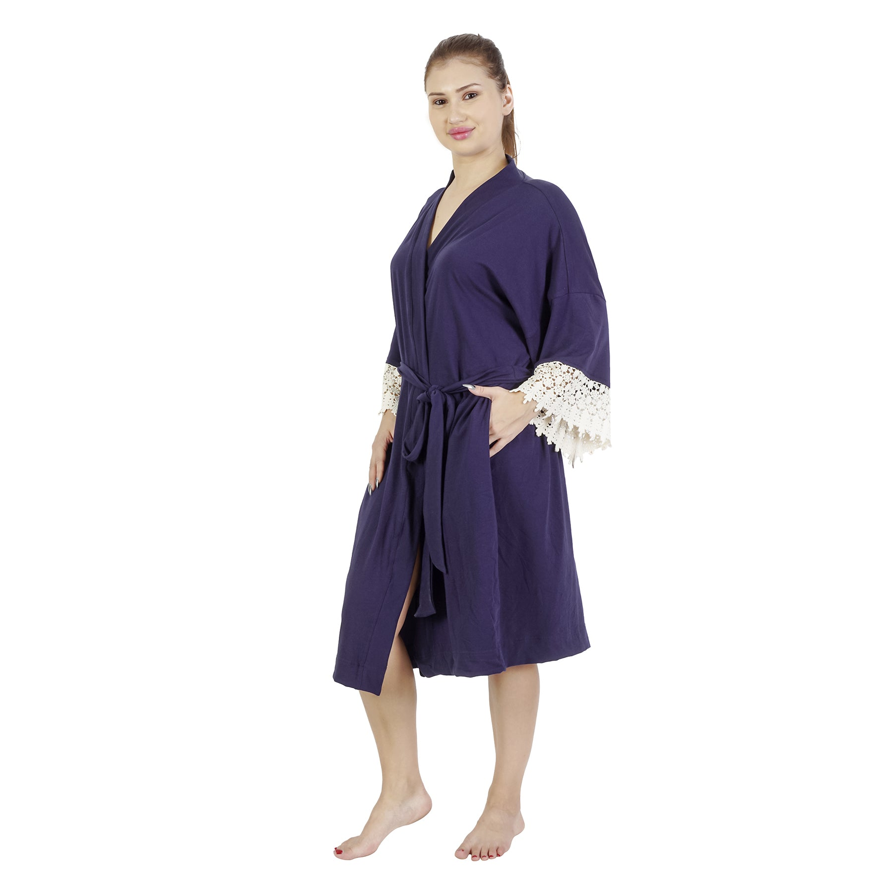 Comfy Mommy Solid Navy Blue Organic Stretch Cotton Maternity Robe