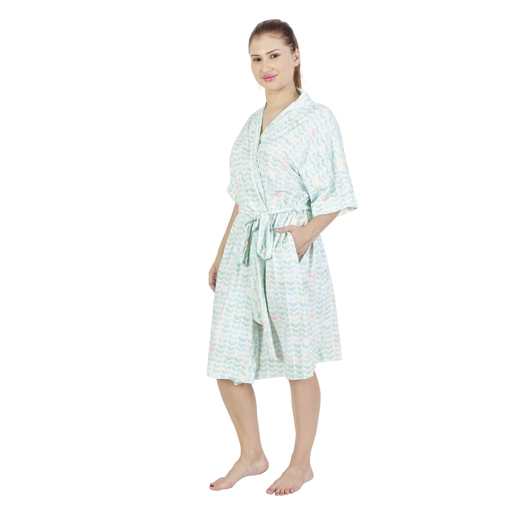 Aqua Chevron Comfy Mommy Olive Organic Stretch Cotton Maternity Robe