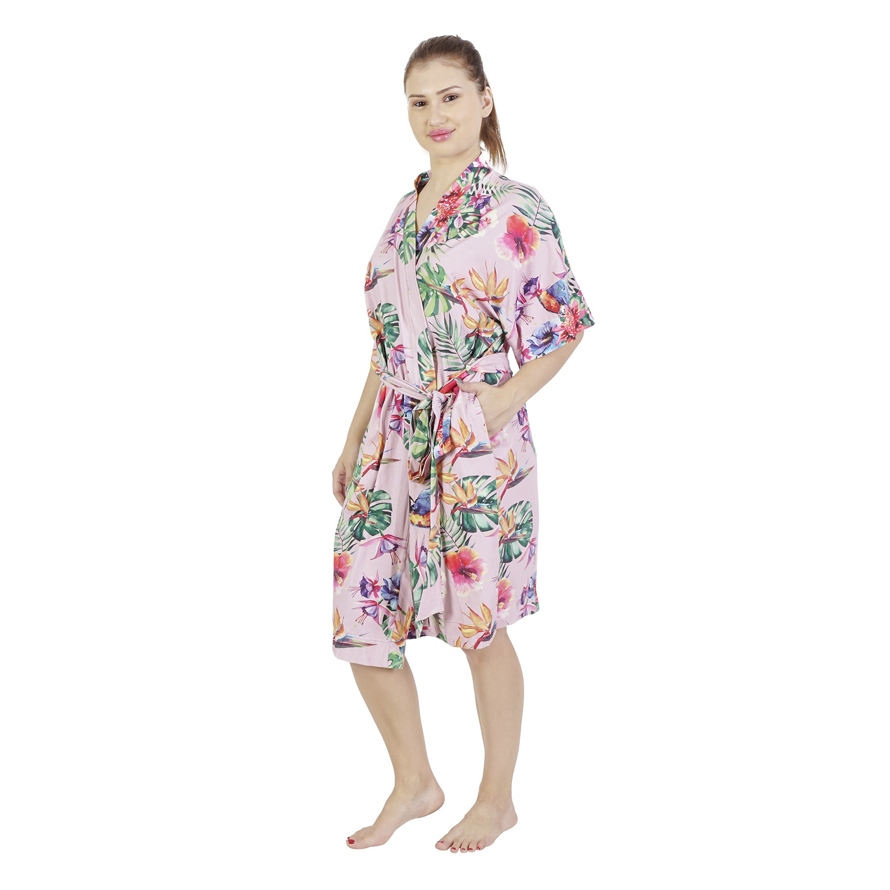Rosegold Parrrot Comfy Mommy Organic Stretch Cotton Maternity Robe
