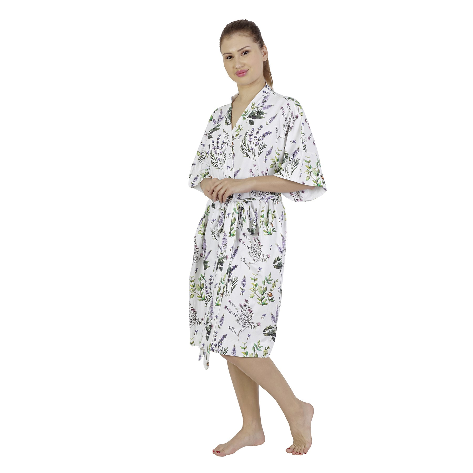 Botanical Comfy Mommy Organic Stretch Cotton Maternity Robe