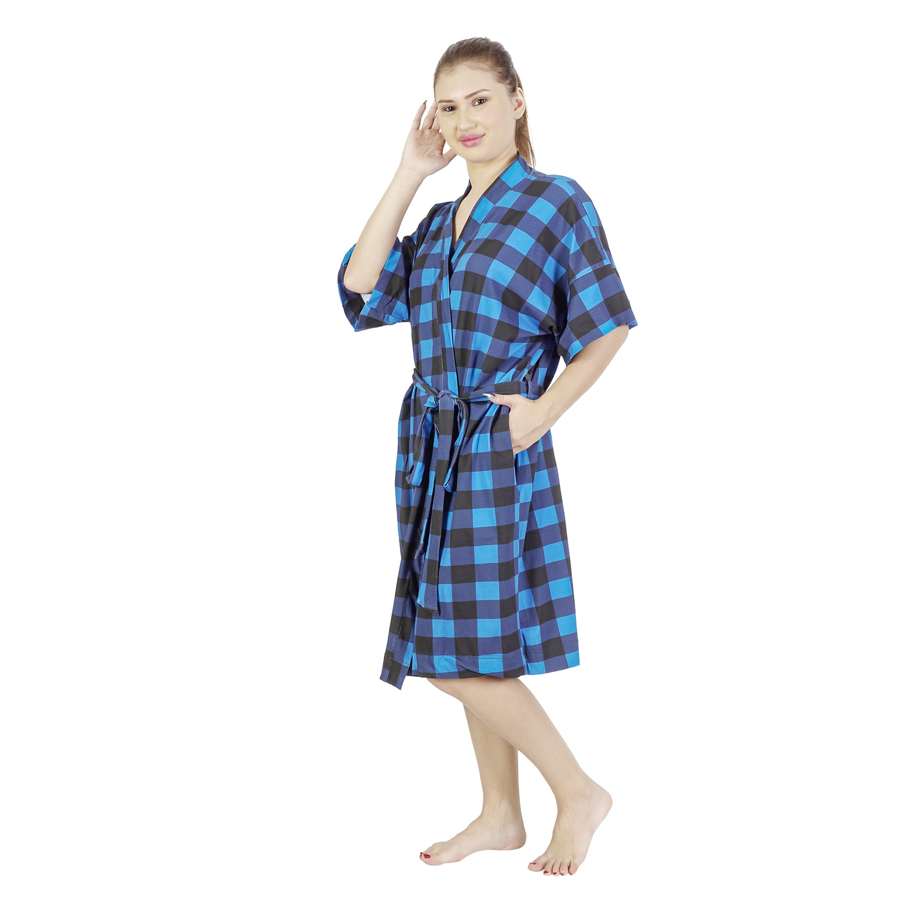 Blue Black Paid Comfy Mommy Olive Organic Stretch Cotton Maternity Robe