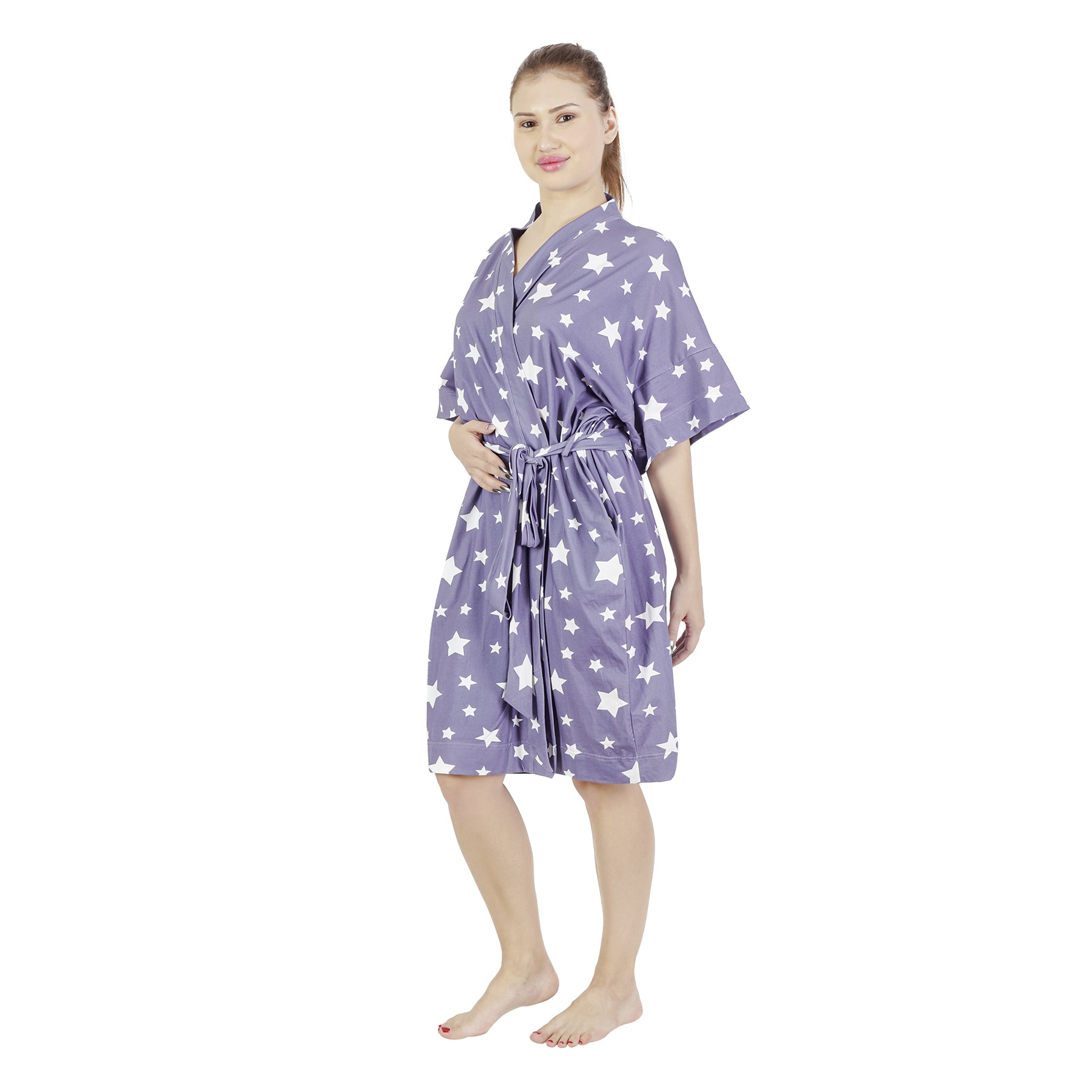 Comfy Mommy Star Gray Organic Stretch Cotton Maternity Robe