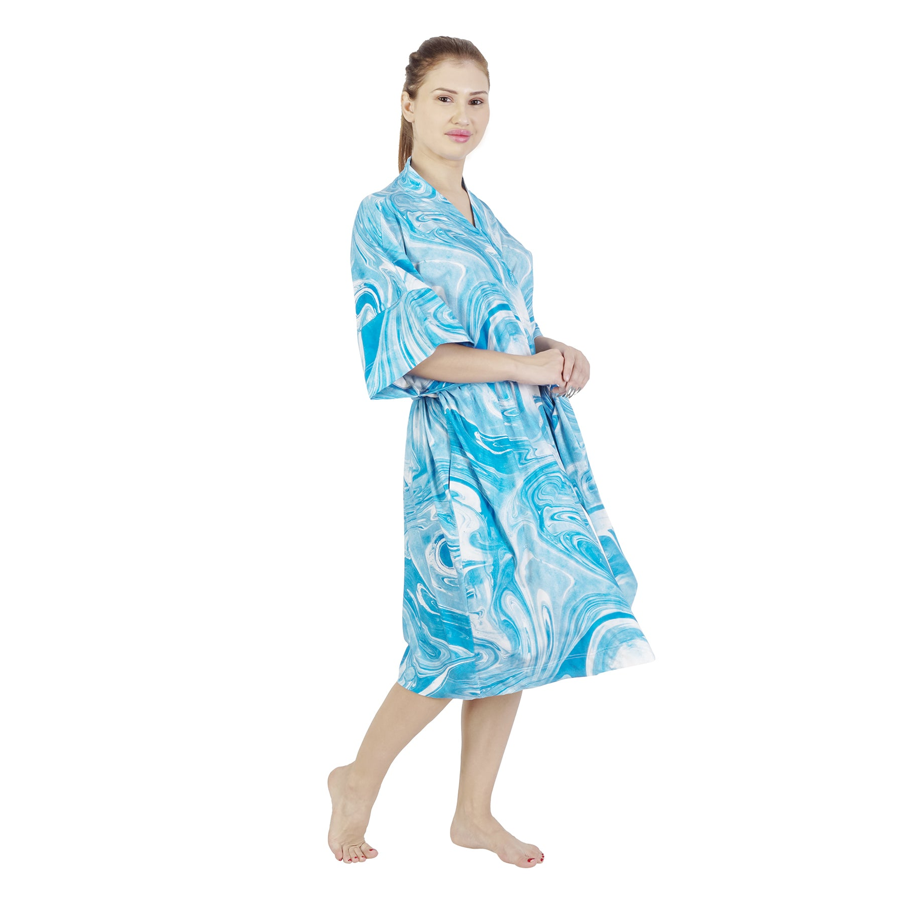 Blue Marble Comfy Mommy Organic Stretch Cotton Maternity Robe