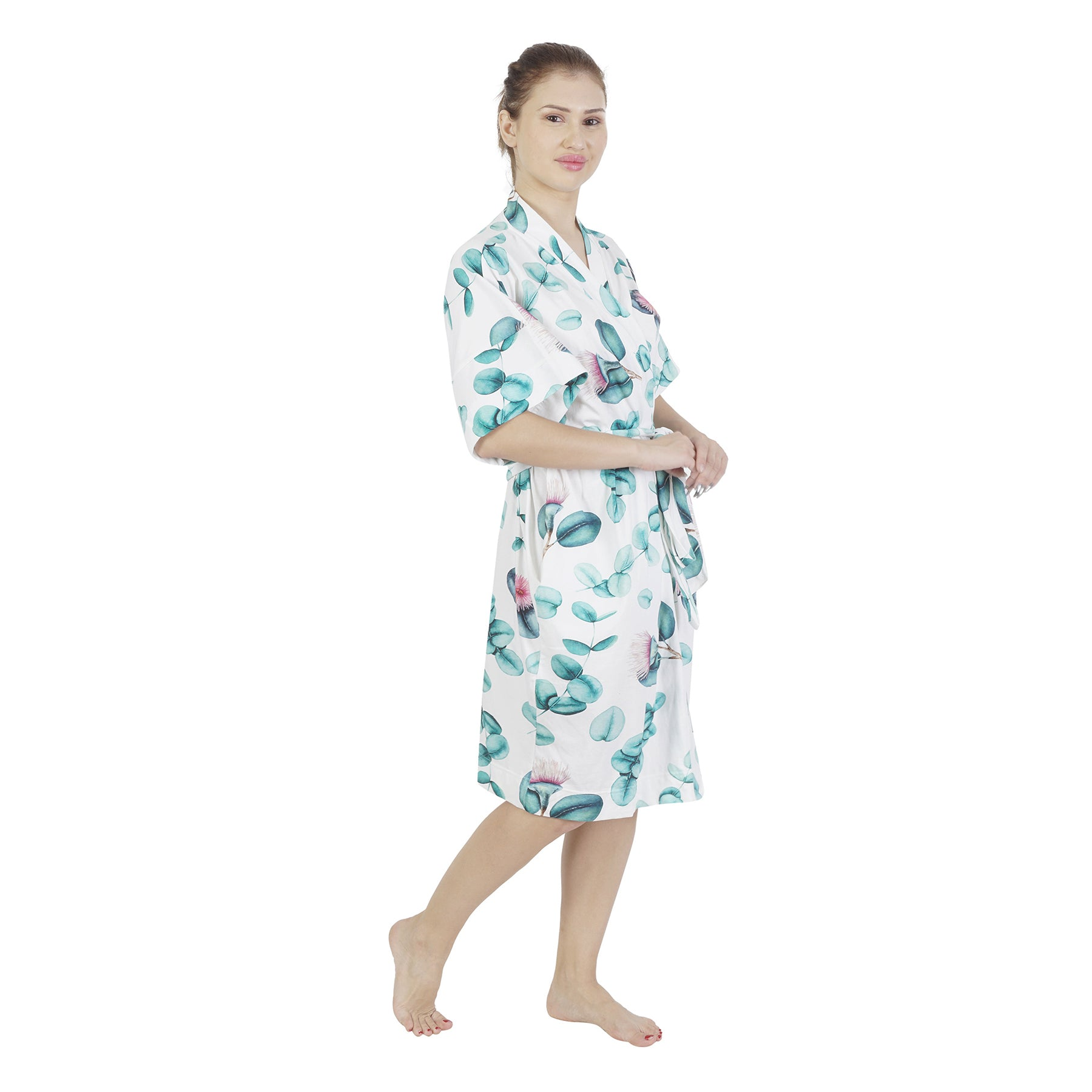 Pink Brush Flow Comfy Mommy Organic Stretch Cotton Maternity Robe