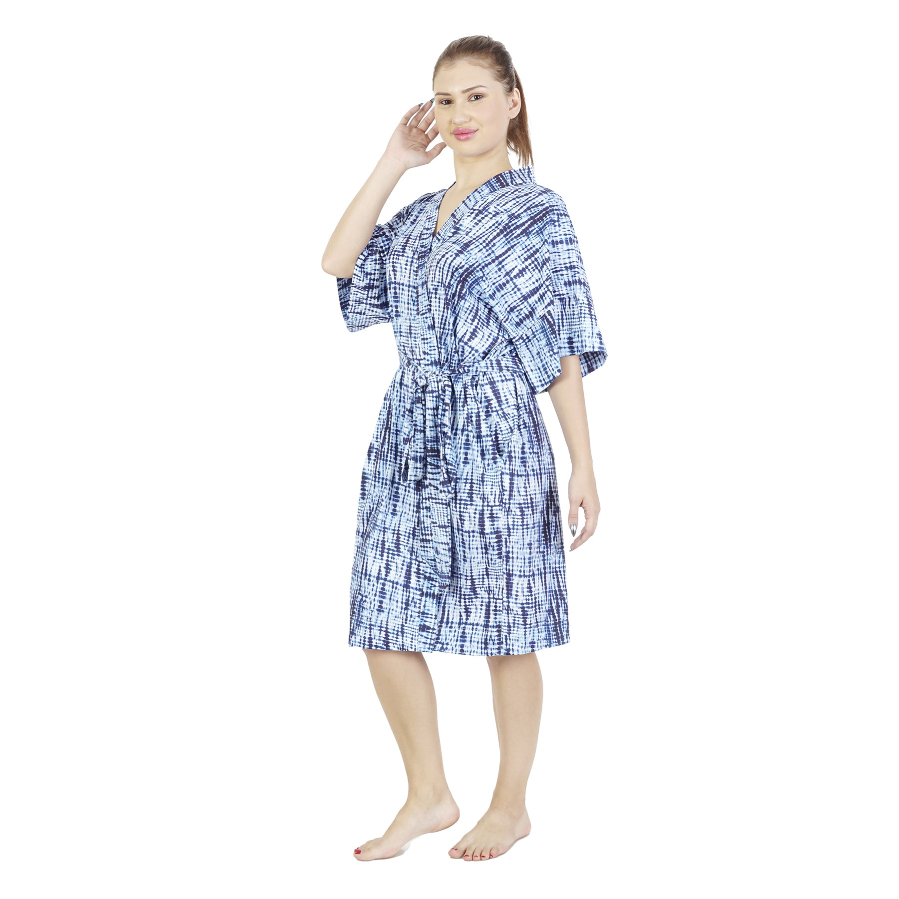 Shibori Comfy Mommy Organic Stretch Cotton Maternity Robe