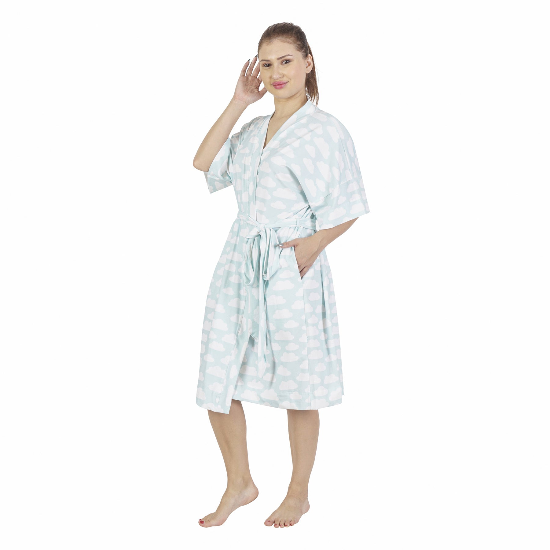 Cloud Comfy Mommy Organic Stretch Cotton Maternity Robe