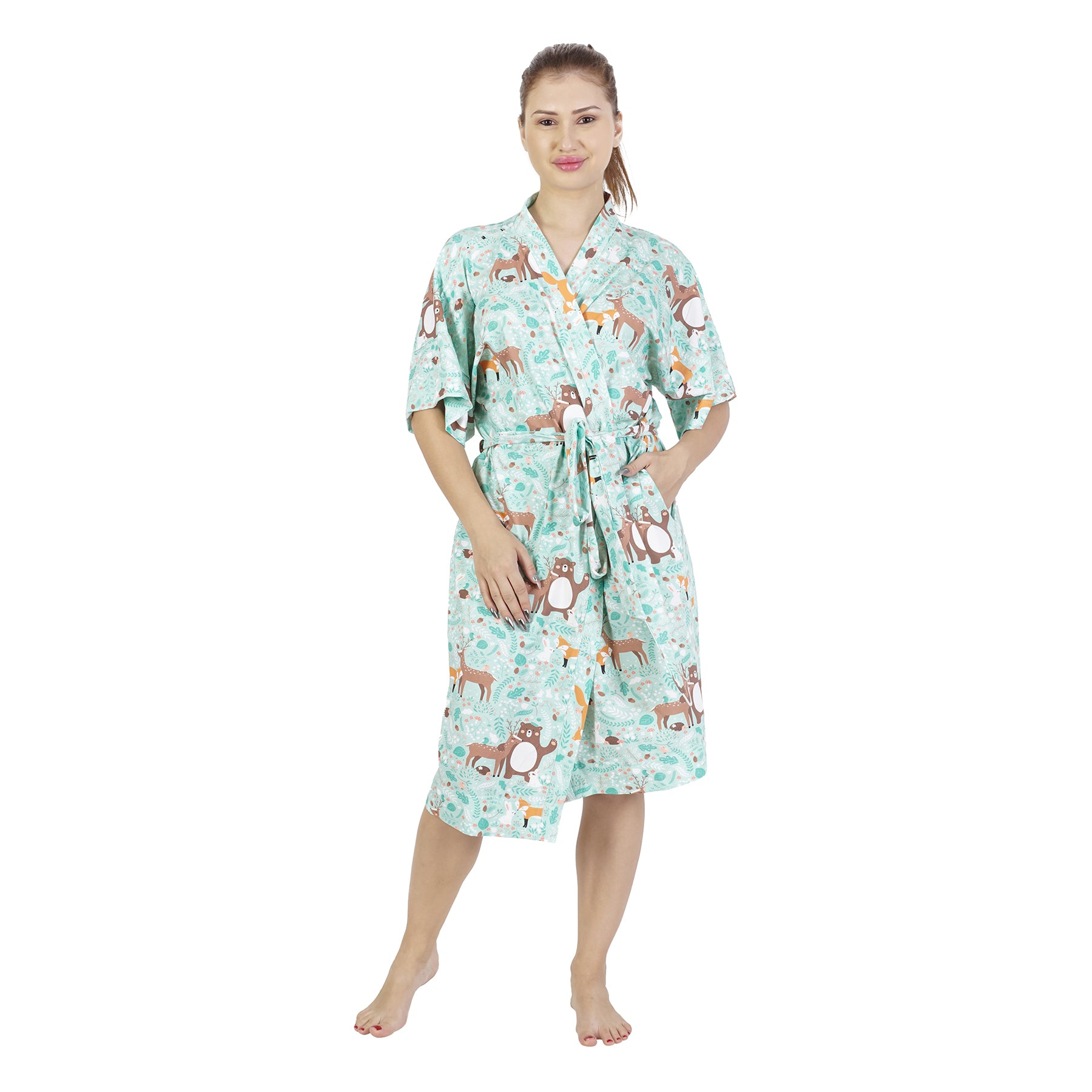 Blue Forest Comfy Mommy Organic Stretch Cotton Maternity Robe