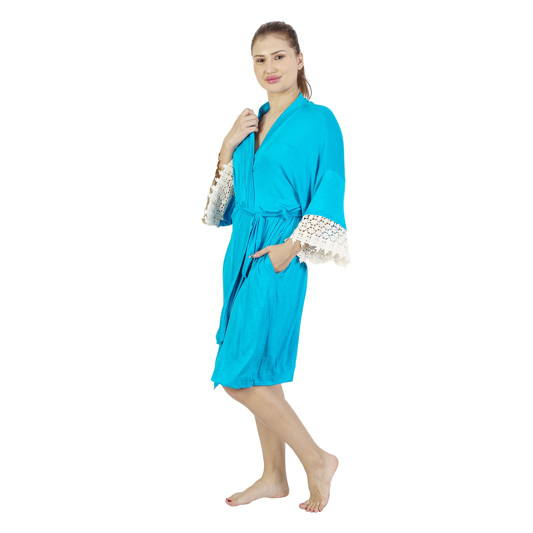 Comfy Mommy Solid Blue Organic Stretch Cotton Maternity Robe