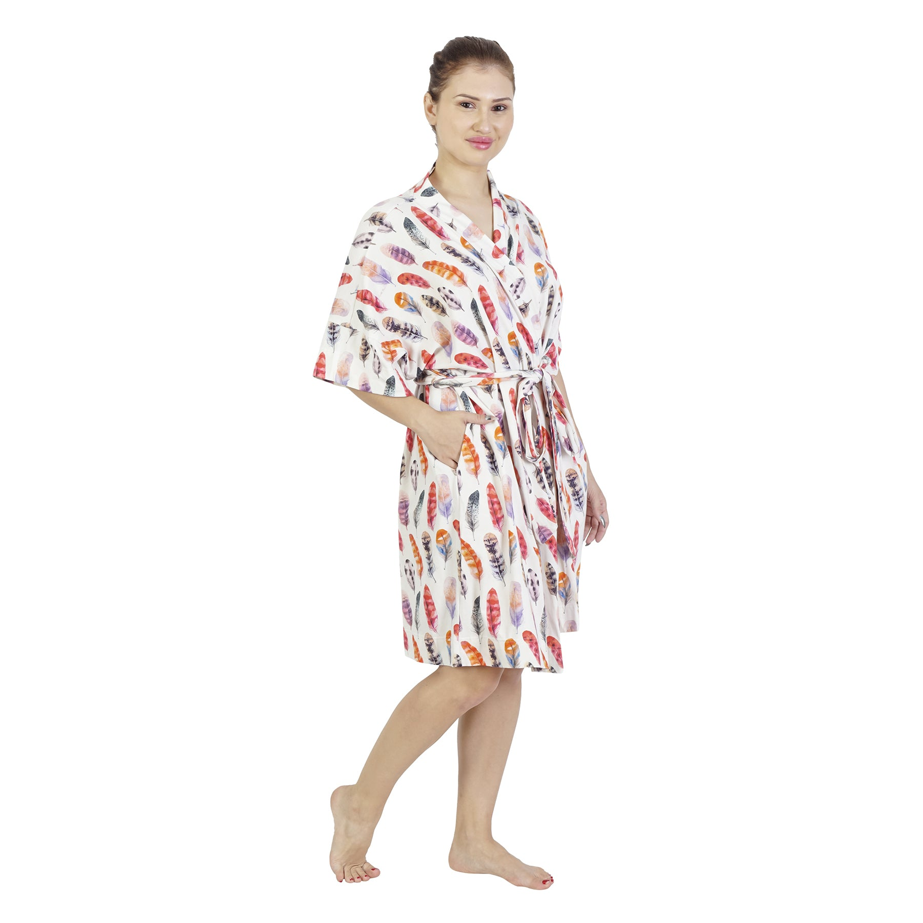 Red Feather Comfy Mommy Organic Stretch Cotton Maternity Robe