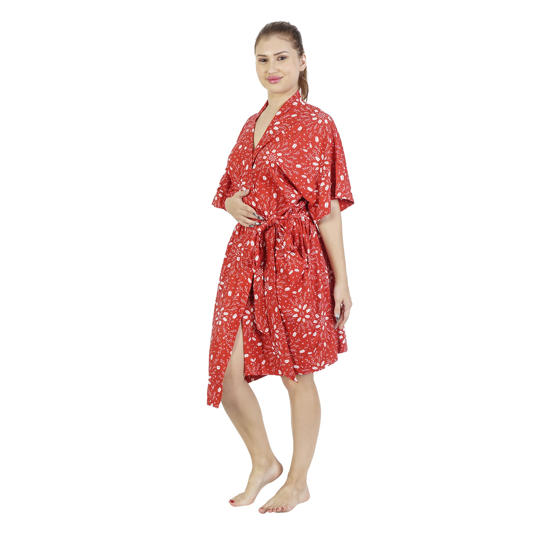 Red Christmas Comfy Mommy Organic Stretch Cotton Maternity Robe