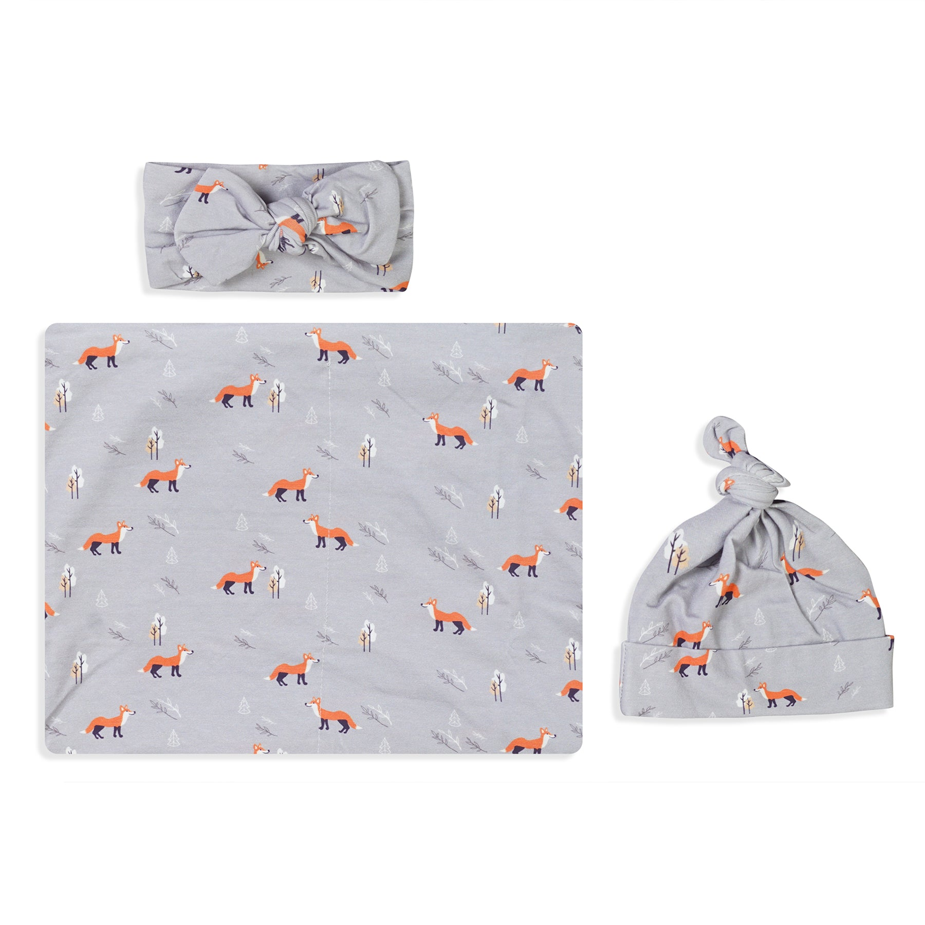 Gray Fox Swaddle Set For Newborn Baby Boy And Girl With Organic Maternity Robe | Comfy Mommy