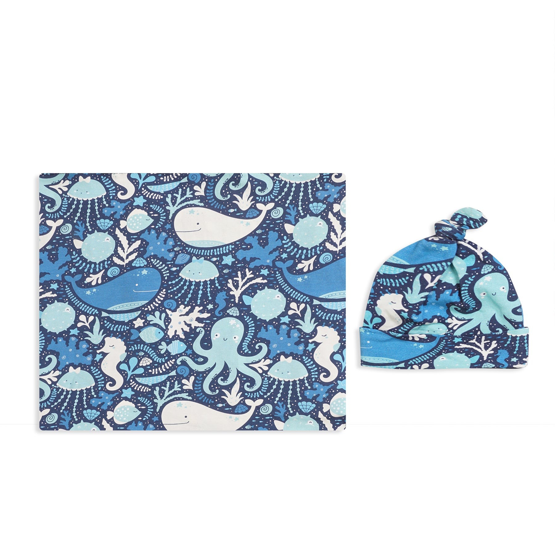 Happy Whale Printed Swaddle Set For Newborn Baby Boy And Girl With Organic Maternity Robe | Comfy Mommy
