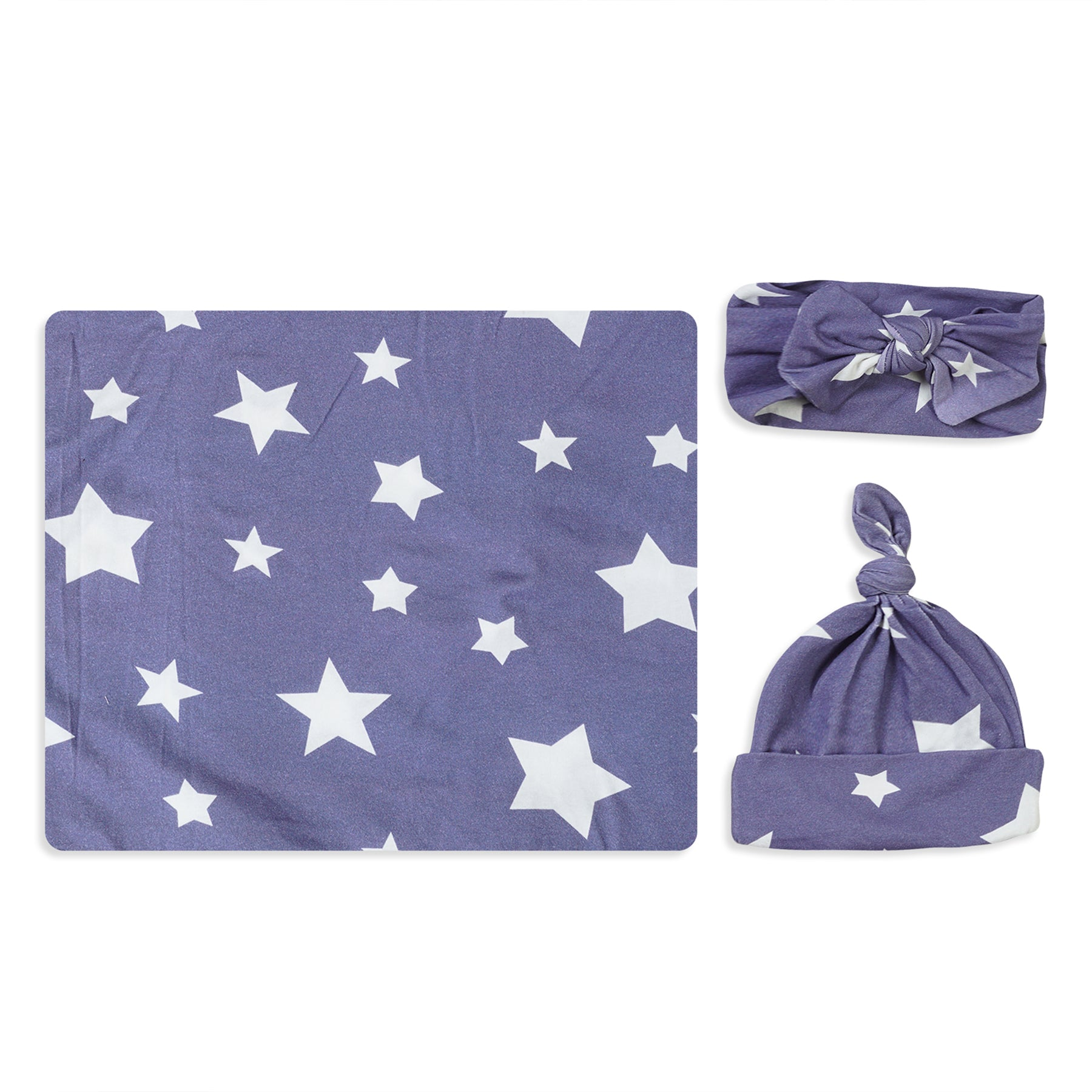 Blue Star Printed Swaddle Set For Newborn Baby Boy And Girl With Organic Maternity Robe | Comfy Mommy