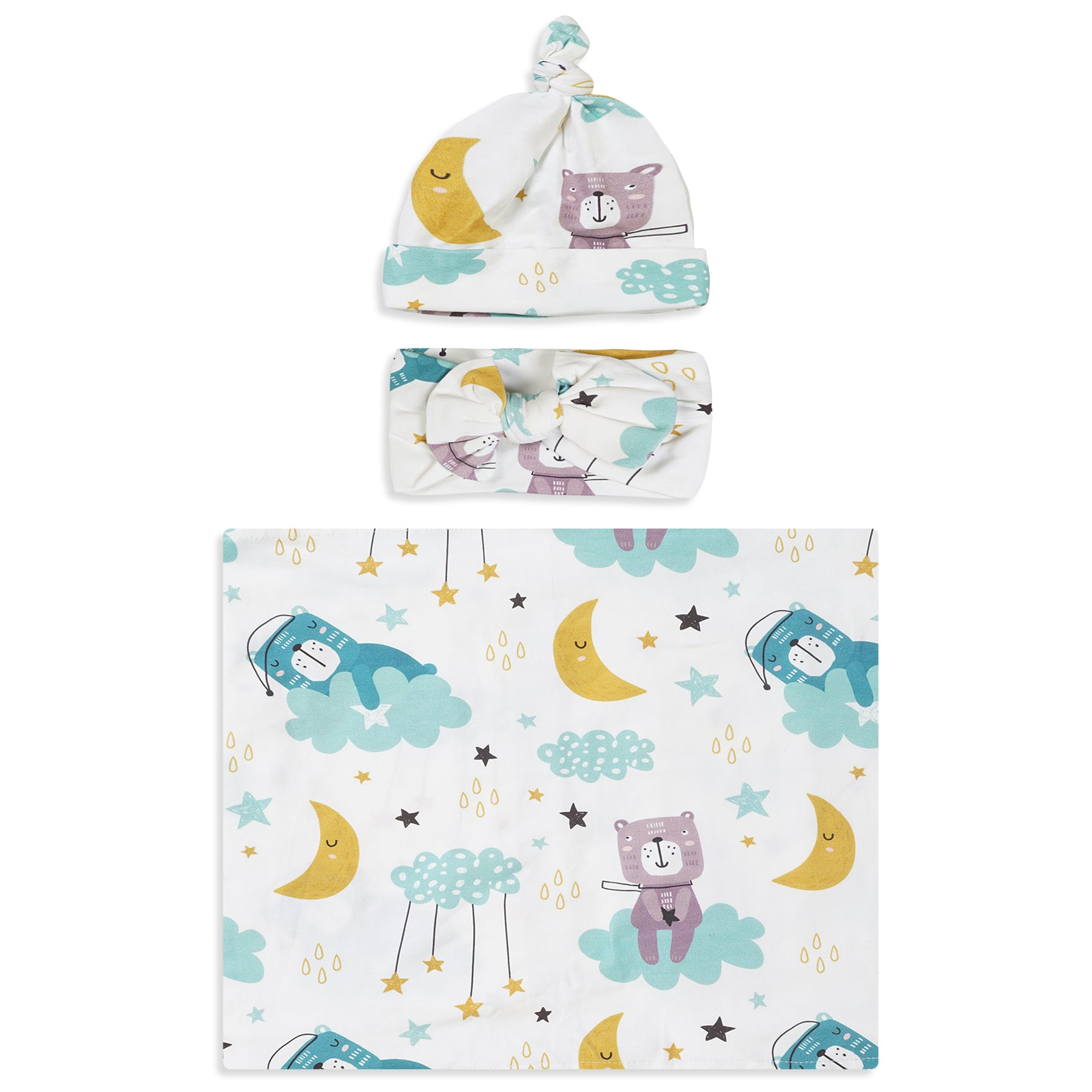 Sleepy Bear Printed Swaddle Set For Newborn Baby Boy And Girl With Organic Maternity Robe | Comfy Mommy