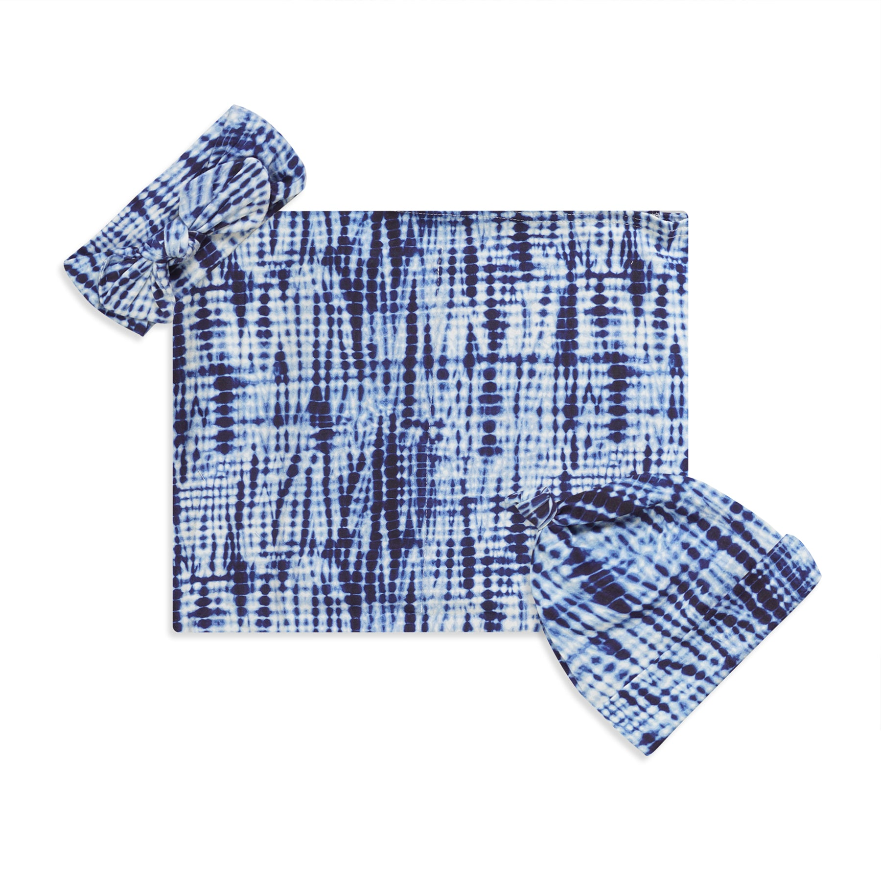 Shibori Printed Swaddle Set For Newborn Baby Boy And Girl With Organic Maternity Robe | Comfy Mommy