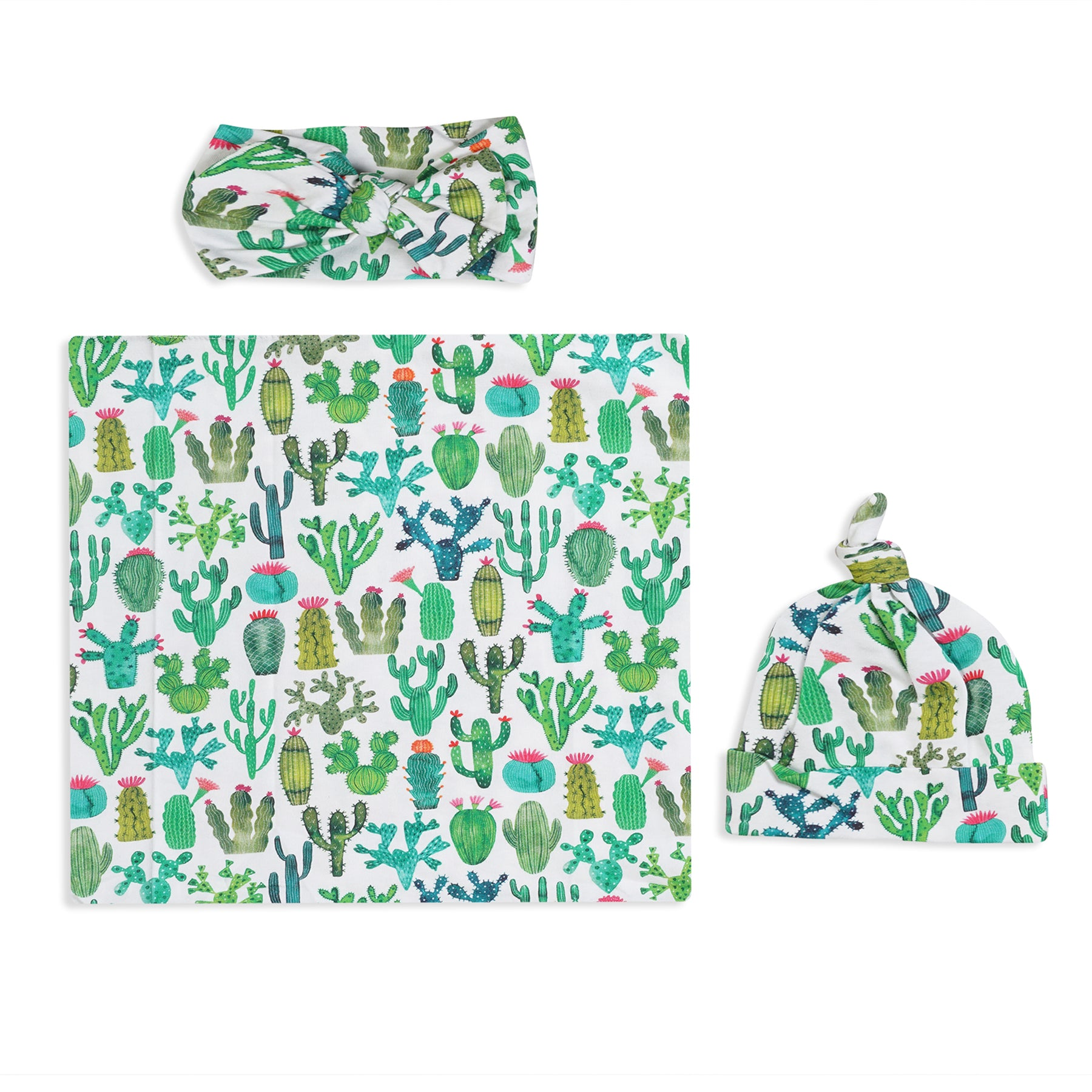 Cactus Printed Swaddle Set For Newborn Baby Boy And Girl With Organic Maternity Robe | Comfy Mommy