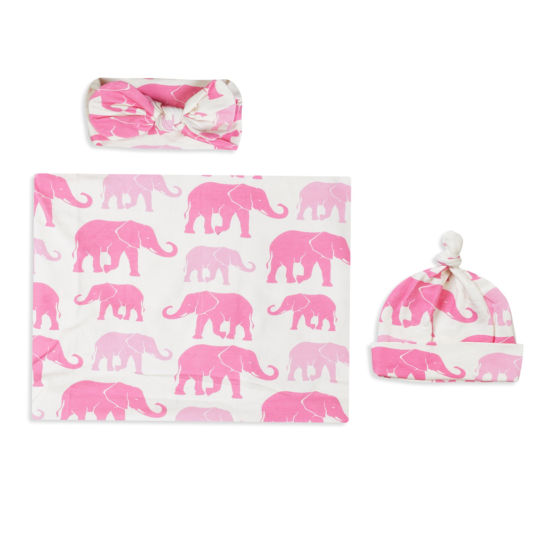 Pink Animal Printed Swaddle Set For Newborn Baby Boy And Girl With Organic Maternity Robe | Comfy Mommy