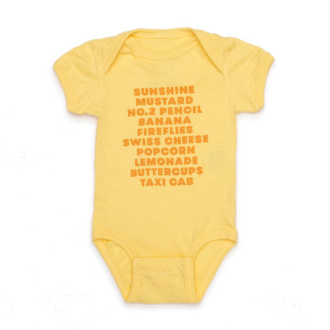 Favorite (Yellow) Things Onesie - colorfactoryshop