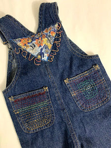 Slow Stitch - 'Save Wildlife' dungarees
