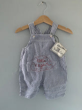 Load image into Gallery viewer, Slow Stitch - 'Little Vegan' seersucker dungarees