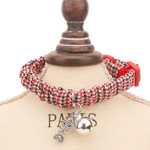 Best Cat Floral and Plaid Rhinestones Bell Collar