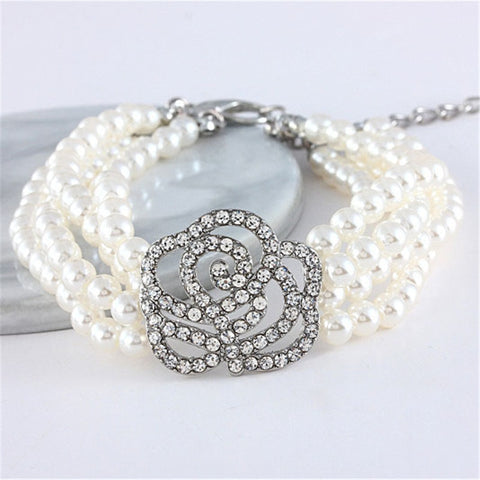 Cats Stylish Pearl Shiny Rhinestone Heart Shape Necklace