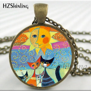 New Design Colorful Cats Family Necklace