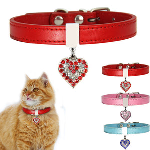 Best Leather Cat Adjustable Bling Rhinestone Collar