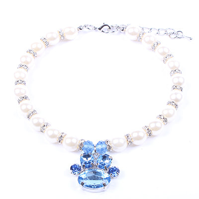 Beautiful Dogs Rhinestones Pearls Necklace